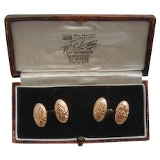Finely Chased Victorian H/M 1887 Solid 9K Carat Gold Cufflinks in Original Box
