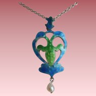 Art Nouveau Silver & Blue / Green Enamel Pearl Drop Pendant on 925 Chain