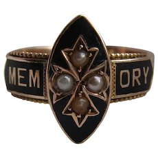 Antique 9K Carat Gold Black Enamel & Seed Pearl Mourning Ring Chester H/M 1915