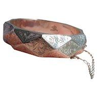 Vintage Siam Sterling Silver Faceted Engraved Bangle Bracelet Birmingham 925