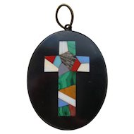 Victorian Italian Pietra Dura Inlaid Cross Black Marble Pendant Grand Tour