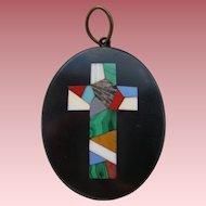 Victorian Italian Pietra Dura Inlaid Cross Black Marble Pendant Grand Tour
