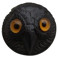 Victorian Carved Irish Bog Oak Owl Brooch with Yellow Glass Eyes