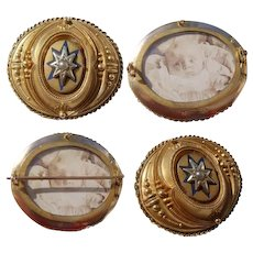 Victorian 9ct Gold MOURNING Locket Brooch with Starburst Pearl & Photo Possibly Post-Mortem
