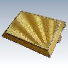 Art Deco Sterling Silver Yellow Guilloche Enamel Sunburst Match Safe Vesta Case