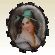 Victorian Whitby Jet Mounted Porcelain Portrait Brooch Tyrolean Boy in Green Hat