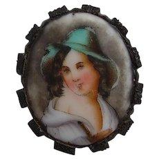 Victorian Whitby Jet Mounted Porcelain Portrait Brooch Tyrolean Boy in Green Hat