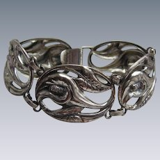 Early Danecraft 1930's Sterling Silver Panel Floral Bracelet Reg.US.Pat.Off