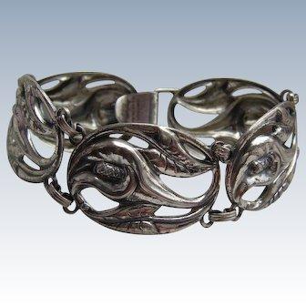 Early Danecraft 1930's Sterling Silver Panel Floral Bracelet Reg.US.Pat.Off