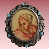 Fine Vintage 800 SILVER Italian HAND PAINTED & Signed Portrait Miniature Brooch