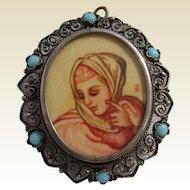 Fine Vintage 800 SILVER Italian HAND PAINTED & Signed Portrait Miniature Brooch