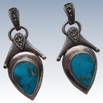 Vintage 1970's Solid Silver 925 Turquoise & Marcasite Drop Earrings