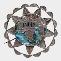 Large Art Nouveau 800 Silver Filigree Enamelled Map of INDIA Brooch c1910