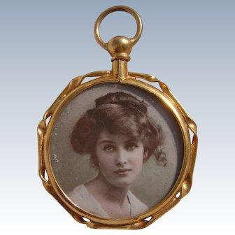 Antique 15ct Gold Gilt Metal Photo Pendant Locket with Original Photos of Ladies