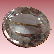 Splendid Victorian 9ct Rose Gold Rock Crystal Faceted Cabochon Brooch c1900