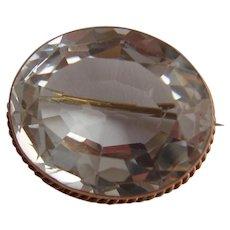 Splendid Victorian 9ct Rose Gold Rock Crystal Faceted Cabochon Brooch c1900