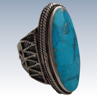 Vintage 1970's Solid Silver 925 Oval Turquoise Ring 15.9gms