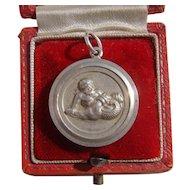 Georg Jensen Silver Medallion Pendant Zodiac Aquarius Neptune Water Carrier