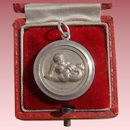 Georg Jensen Silver Medallion Pendant Zodiac Aquarius Neptune Water Carrier