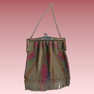 Art Deco Silver Plated Rainbow Mesh Purse with Enamel Frame & Blue Glass Clasp