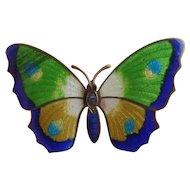 Vintage Enamel Gilt Metal Butterfly Brooch