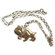 "Vintage Sterling Silver Gilt 925 Bulldog Pendant on 20.5"" Belcher Chain"