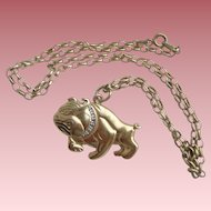 "Vintage Sterling Silver Gilt 925 Bulldog Pendant on 20.5"" Belcher Chain"