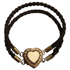 Victorian Woven Hair Mourning Bracelet with Heart Locket & Silver Gilt Finials