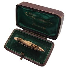 Victorian Plaited Hair Sailor Boat 9K Rose Gold Mourning Brooch in Original Box