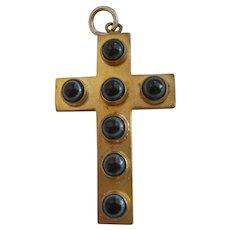 Victorian Gilt Metal Multi Bullseye Agate Cabochon Cross Pendant