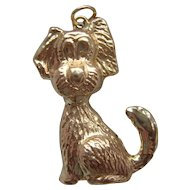 Vintage 9K Carat Gold Novelty Stylised Dog Pendant Charm