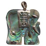 Vintage 925 Silver Mounted Chinese Abalone Shell Elephant Pendant