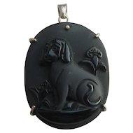 Vintage Satinised Carved Onyx Jet Black Dog Cameo 925 Silver Pendant