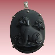 Vintage Satinised Carved Onyx Jet Black Dog Cameo 925 Silver Pendant
