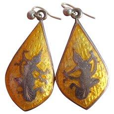 Rare Siam Sterling Silver Niello Ware Yellow Enamel Drop Earrings