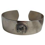 Art Deco Silver Plate & Enamel San Diego 1935 Worlds Fair Souvenir Cuff Bracelet