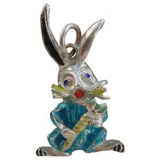 Vintage Silver & Enamel Rabbit Holding Carrot Bugs Bunny Pendant or Large Charm