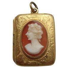 Edwardian Rolled Gold Shell Cameo Double Photo Locket Pendant c1910