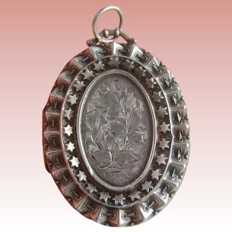 Large Victorian Sterling Silver Locket H/M 1884 Aesthetic Period