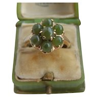 Vintage 10K Carat Gold Jade Cluster Ring 3.7g Possibly Chinese