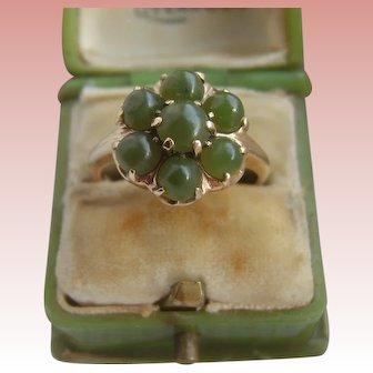 Vintage 10K Carat Gold Jade Cluster Ring 3.7g Possibly Chinese