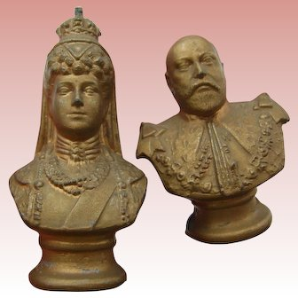 Rare Wm.Britain JR (William Britains) Metal Busts of King Edward V11 & Alexandra