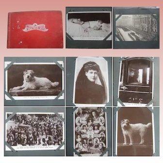 Royal Postcard Album Edward V11 Mourning & George V 1910 Contains 68 Postcards