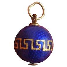 Antique Cobalt Blue Guilloche Enamel Spherical Ball Pendant with 9K Jump Ring