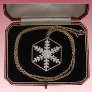 Ltd Edition Franklin Mint 1977 Snow Crystal Snowflake Silver Gilt Pendant Chain