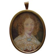 Edwardian Framed Hand Painted Portrait Miniature of Lady Watercolour on Card Pendant