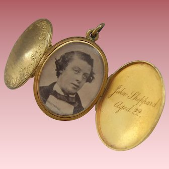 Victorian 1860 Double Sided Opening Mourning Locket Inscription Photo & Hair