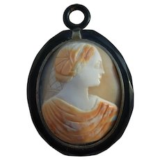 "Huge Victorian Whitby Jet Shell Cameo Pendant c1860 Measures 3"" x 2"""