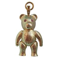 Vintage 9K Carat Gold Jointed Teddy Bear Pendant with Ruby Eyes 5.8gms