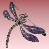 Vintage Sterling Silver Plique a Jour Marcasite Dragonfly Brooch in an Art Nouveau Style